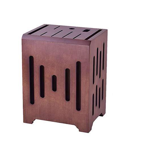 Soporte para cuchillos Soporte para cuchillos Madera de bambú Estante de almacenamiento Soporte para cuchillos para el hogar Herramienta de almacenamiento montada en la pared 9 agujeros-Nogal