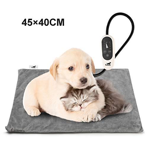 Toozey Katzen Hund Heizmatte Innen, Timing und Temperatur Einstellbar Sicher Elektrisch Haustier Heizdecke mit Kristall Samtbezug für Neugeborene/Klein/Altere Katze und Hunde S (45×40cm)