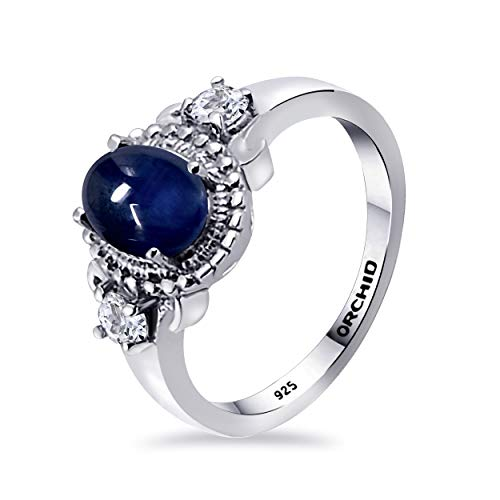 Orchid Jewelry 2.2 Ctw Anillos De Plata De Ley 925 Para Mujer| Azul Zafiro Oval Anillo | Aniversario Especial, San Valentín, Compromiso, Boda, Regalo Para Ella, Esposa,Mama Talla De Anillo 11.5