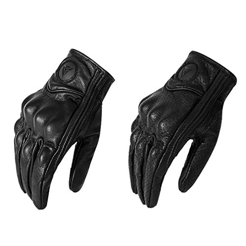 Motocicleta Pantalla Táctil para Todos Los Dedos Guantes De Cuero A Prueba De Viento Guantes Protectores Transpirable Negro XL