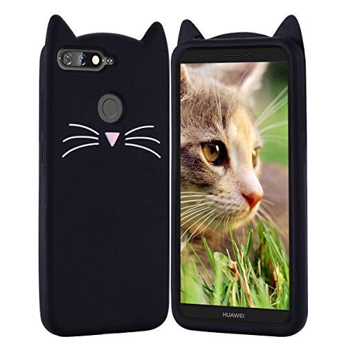 HopMore Compatibile con Cover Huawei Y6 2018 / Honor 7A Silicone Disegni 3D Gatto Gattina Divertenti Morbido Custodia Huawei Y6 2018 / Honor 7A Antiurto Protettiva Case Animale Caso Molle - Nero