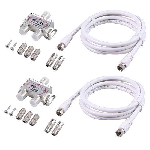 AUTOUTLET 2 stks 2 Way Splitter Kit voor Kabel-TV CATV Starview NTL Virgin Media 5-2500MHz