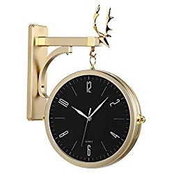 Vintage Double Sided Wall Clock,Metal Silent Wall Hanging Clocks,Creative Round Wall Clocks,360 Degree Rotate Antique Wall Clock Golden & Black 33x50cm(13x19.7inch)