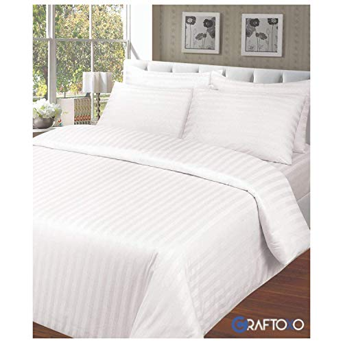 Craftoxo King Size Duvet Cover Set - 100% Hotel Quality King Beds Satin Stripe Duvets Cover Sets With Pillowcases Combed Cotton Super Soft White Home Bedding Bedset Quilt Cover