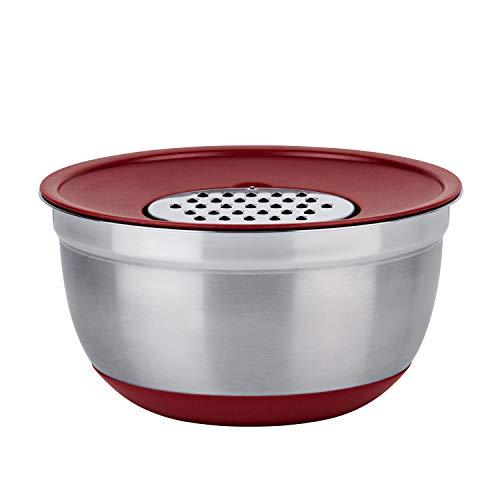 Conjunto German Bowl Inox com Ralador 3 em 1 Euro Vermelho