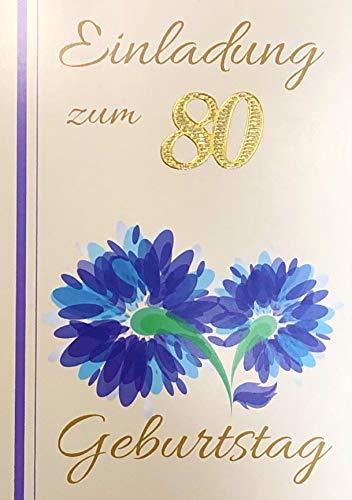 Einladungskarten 80. Geburtstag Frau Mann mit Innentext Motiv blaue Blume 10 Klappkarten DIN A6 im Hochformat mit weißen Umschlägen im Set Geburtstagskarten Einladung 80 Geburtstag Mann Frau K241
