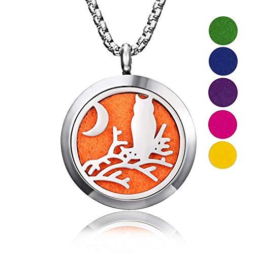 Accesorios Personalizados, Collares, Cat Dog Vintage Aromaterapia Perfumes Aceites Esenciales Difusor Collar Medallón Collar Colgante para Mujer Mamá Collar, Thumby, Noche de búho