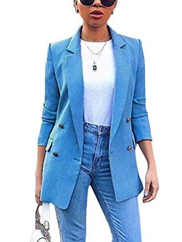 Minetom Donna Manica Lunga Colletto Cappotto Elegante Ufficio Business Blazer Top Gilet Corto OL Carriera Tailleur Giacca Blu 54