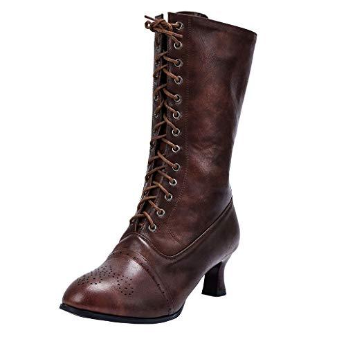 VJGOAL Dameslaarsjes, vrouwen Booties Elegant mode grote maten eenkleurig gesneden wijnglas met kant High Heels Women Boots
