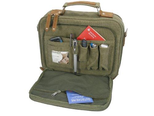 Netbook Tasche Netbooktasche Greenland Canvas mit Applikationen aus echten Leder inkl. Schulterriemen für Netbooks von 22,6 - 25,9 cm 8,9 - 10,2 Zoll