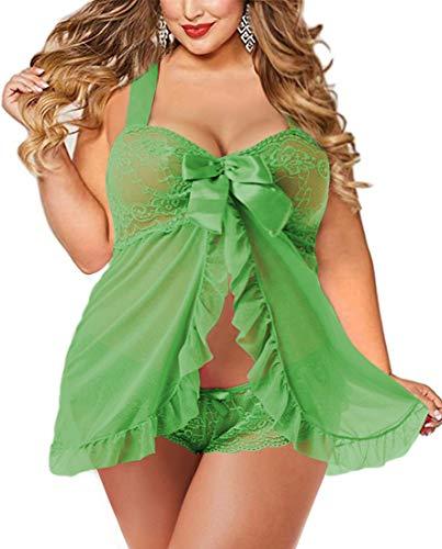 Plus Size Lingerie Babydoll Set for Women(5XL,Apple Green)