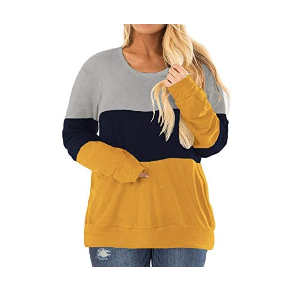 VISLILY Plus-Size Tops for Women Long Sleeve Shirts Color Block Tunics