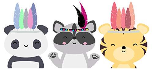 dekodino® Wandtattoo Tiere Indianer Panda Waschbär Tiger Kinderzimmer Deko