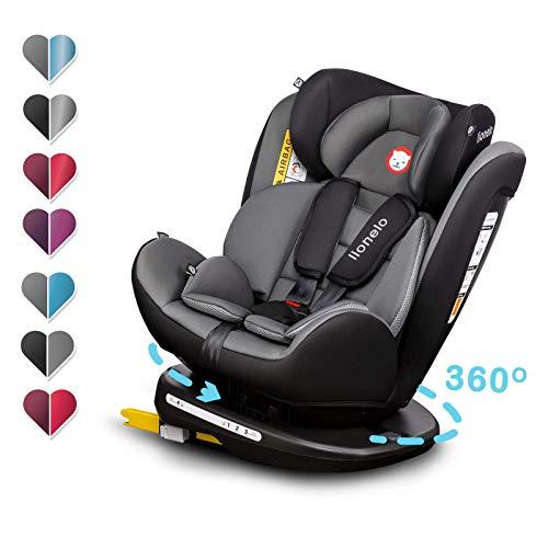 Lionelo Bastiaan Kindersitz Auto Kindersitz Isofix und Top Tether Kindersitz Drehbar um 360 Grad Autositz Gruppe 0 1 2 3 ab Geburt bis 36 kg TÜV SÜD ECE R 44 04 (Grau-Schwarz)