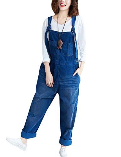 Youlee Damen Winter Herbst Verstellbarer Riemen Ärmellos Jumpsuits Latzhose mit weitem Bein Strampelhöschen Style 1 Blue