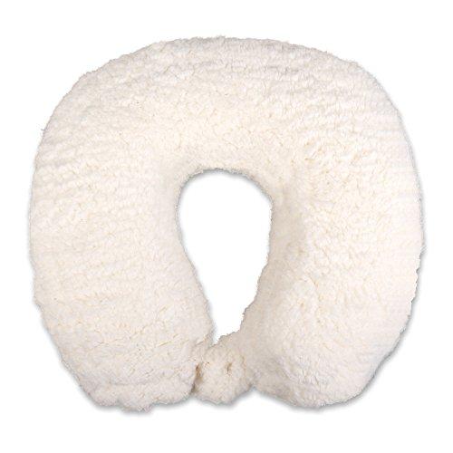 Schramm® Nackenkissen mit praktischem Druckknopf in 5 Farben Reisekissen Nackenhörnchen orthopädisches Nackenstützkissen Memory-Schaum Travel Neck Pillow, Farbe:kuscheliges Weiss