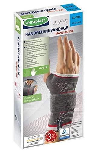 SENSIPLAST Handgelenkbandage Handgelenkstütze Handgelenkschiene Links Rechts Verstauchung Kompression Knöchelbandage Knöchelschutz (Rechts: XL-XXL)
