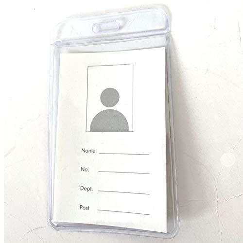 Juego de 50 tarjetas de plástico transparentes para porta tarjetas, etiqueta con nombre, tarjeta de identificación (Vertical, 50)