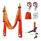 LIERSI 6 Manijas Yoga Aérea Hamaca Yoga Swing Flying Home Yoga Pilates Hamaca para El Cuerpo Que Forma con 4 Mosquetones, Correas De Extensión 2 1 M, 1 Bolsa De Transporte,Naranja