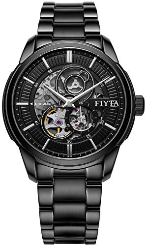 FIYTA Classic Orologio da uomo automatico nero con cinturino in metallo nero e irrequietimento aperto e piccolo secondo GA802075.BBB