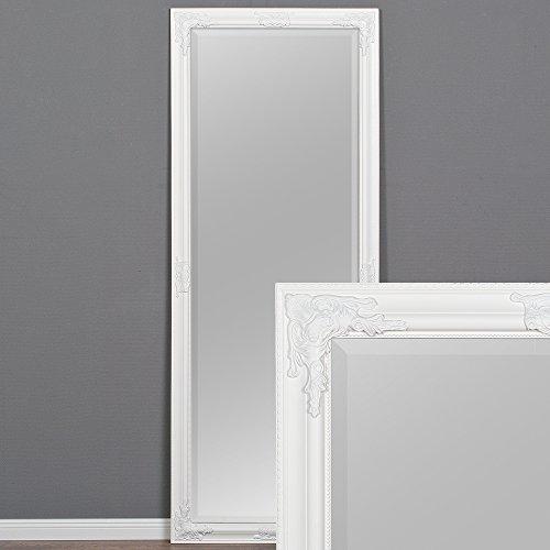 LEBENSwohnART Wandspiegel BESSA weiß-pur 180x70cm barock Spiegel Design pompös Holzrahmen