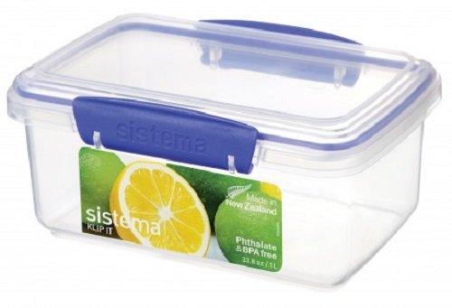Sistema KLIP IT Lebensmittelbehälter, 1l, transparent mit blauen Clips