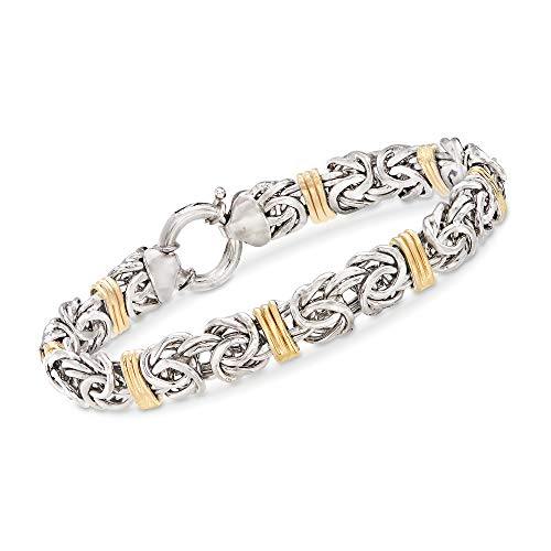 Ross-Simons Sterling Silver and 14kt Yellow Gold Byzantine Bracelet For Women 7, 8 Inch