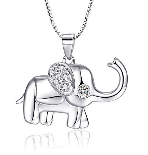 Collar de elefante para mujer Joyería de elefantes de plata de ley 925