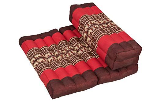 Handelsturm Coussin de méditation pliable pour différentes techniques de méditation, zabuton, débutant, avec rembourrage solide en kapok (rouge/éléphants)