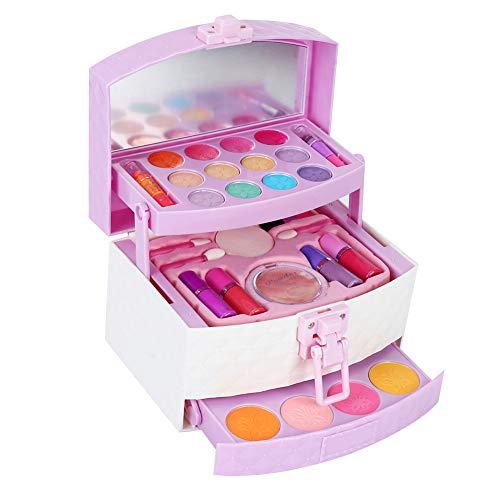 Juego de juguetes de maquillaje para niños, mini juguete de cosméticos solubles en agua con caja, juego de juguetes cosméticos seguros y no tóxicos para niñas de 3 años de edad