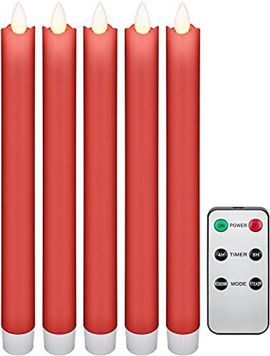 Goobay 53943 Juego de 5 velas de cera real LED inalámbricas, velas de mesa, vela de palo - con mando a distancia, función de temporizador, sin cable, rojo