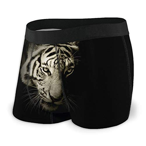 BathWang Herren Comfort Soft Boxershorts Tapetenmuster Weiß Tiger Gr. M, Schwarz