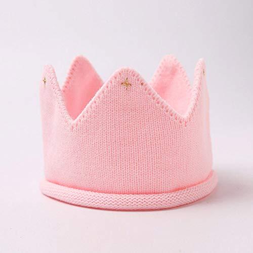 PZNSPY kroon baby muts fotografie rekwisieten herfst winter breien pasgeborenen baby jongen hoed turban kleine kinderen beanie cap enfant style1 Pink