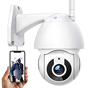 Victure CCTV Camera Security Camera Outdoor 1080P for Home Security with Pan/Tilt 360° View Night Vision IP66 Waterproof Smart Motion Tracking Compatible with IOS/Android