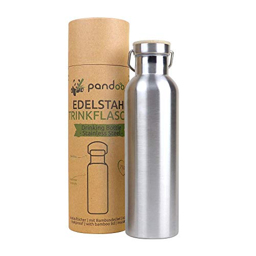 pandoo Edelstahl Trinkflasche 750 ml   Wiederverwendbare Wasserflasche, auslaufsichere Sportflasche mit Deckel, für Sport, Camping, Ausflug, Fahrradfahren   mit oder ohne Isolierung (Isoliert)