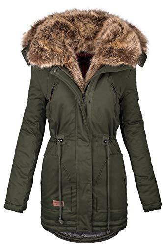 Navahoo warme Damen Winter Jacke Parka lang Mantel Winterjacke Fell Kragen B380 [B380-Daria-Grün-Gr.XXL]