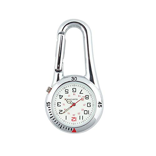 Fresh66 Taschenuhr mit Karabiner und Zifferblatt mit Leuchtmasse, ideal für Ärzte, Krankenschwestern und Rettungsassistenten (Silber)