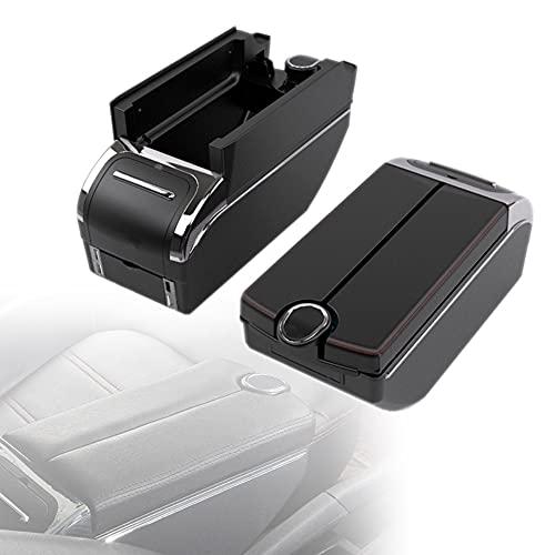 LCRAKON Reposabrazos De Coche con Portavasos, Cenicero Y 7 USB, Compatible con Ford Ka Plus 2015-2019, Caja De Almacenamiento De Consola Central De Reposabrazos De Cuero Negro