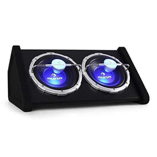 """auna SUB-2X10-43 Auto-Subwoofer Doppel-Subwoofer Twin-Subwoofer (1600 W max. Leistung, 2 x 25 cm (10\"""")-Tieftöner, 5 cm (2\"""")-Schwingspule, 35-1000 Hz Frequenzgang, LED-Licht 12V-Kabelsatz) schwarz"""