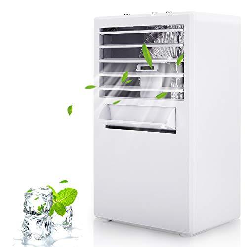 Winload Mini Air Cooler Luftkühler, 3 in 1 Persönliche Klimagerät mit Wasserkühlung, Luftbefeuchter, Luftreiniger, Verdunstungskühler für Zuhause und Büro (A)