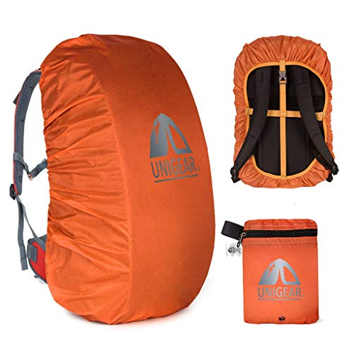 Unigear Backpack Rain Cover Waterproof Rating 5000mm Ultraportable and Durable with 2 Anti-Slip Buckle Strap, Integrated Carry Pouch Design (Orange, Meidum for 30L-40L Backpack)