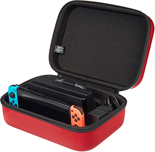 Amazon Basics-Funda de viaje y almacenamiento de juegos, para Nintendo Switch - Rojo