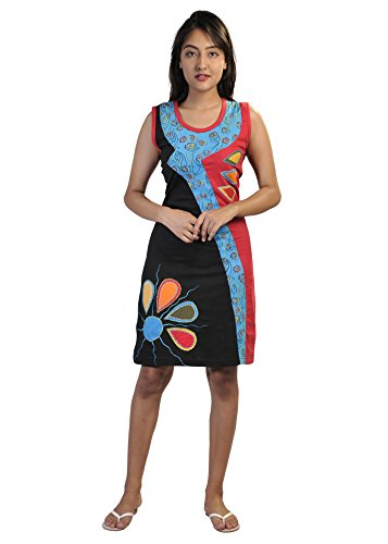 TATTOPANI Ärmellos Bunt Kleid mit bunten Blumen-Prints und Stickereien…