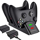 Xbox One Controller Charger, Xbox One Controller Battery Pack with Charger Station, BEBONCOOL 2x1200 mAh Xbox One Battery Pack Rechargeable for Xbox One/One S/One X/Xbox Elite Controller