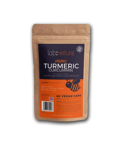 Turmeric and Honey Capsules (contains Bee Propolis and Bee Pollen) | Organic and High Strength | Black Pepper for maximum Bioavailability