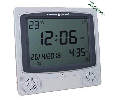 Muslim Azan Clock - Harameen 4009 Wall Alarm- Islamic Prayer Five Times - Extra Instruction Manual for US Cities - ZOON (Grey)