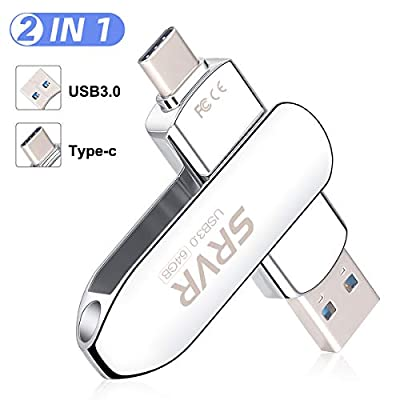 USB C Flash Drive 64GB, SRVR USB 3.0 Memory Stick Type C Dual OTG Thumb Drive with 2 Ports, External Storage for Android Smartphone, MacBook & Laptop