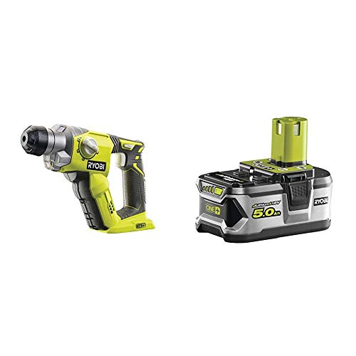 Ryobi R18SDS-0 ONE+ SDS Plus Cordless Rotary Hammer Drill (Body Only) - Hyper Green & RB18L50 ONE+ Lithium+ 5.0Ah Battery, 18 V
