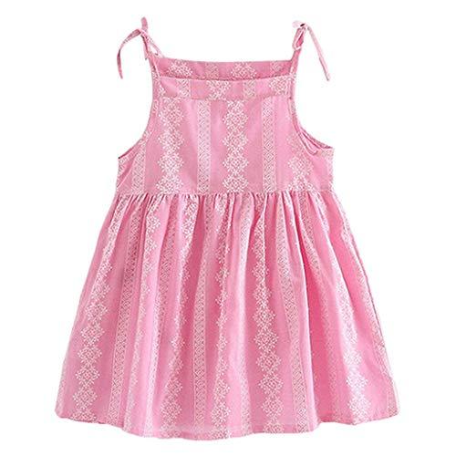 YWLINK MäDchen Volltonfarbe Klassisch Sling Sommer ÄRmellos Kleiden Blume Gestreift Prinzessin Partykleid Sommerkleid Kleidung(Rosa,140)