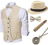 Coucoland 1920 Accesorios para hombre Mafia Gatsby Gángster Chaleco de gángster, incluye sombrero de gángster Panamá, chaleco clásico para hombre, reloj de bolsillo preatado y cigarro de juguete